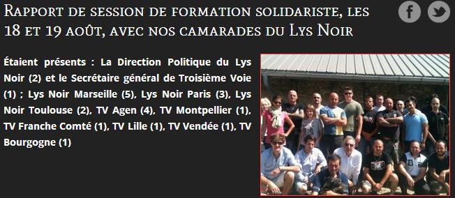 Capture d'écran du site de 3eme Voie (TV), énième organisation de skinhead néo-nazi dirigée par leur star médiatique Serge Ayoub. 2 présents pour le Lys Noir Toulouse, Victor Lenta en polo bleu ciel et Henri Van Essen.
