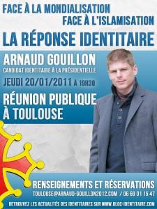 Tract annonçant la venue d'Arnaud Gouillon.