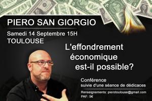Annonce de la conférence de Piero Faloti alias Piero San Giorgio au Clocher de Rodez en septembre 2013.