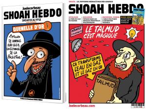 Exemples de dessin de « Joe le Corbeau ». Le premier à gauche, était projeté lors de la conférence à Toulouse, l'autre est une pure compilation négationniste et antisémite.