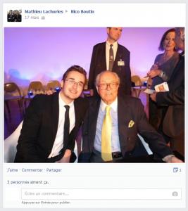 Le 17 mars 2014, Mathieu Lachuries envoi sur Facebook une photo à Nico Boutin (alias de Nicolas Boutin sur Facebook) ou il pose en compagnie de Jean-Marie Le Pen à Toulouse le 15 mars 2014.